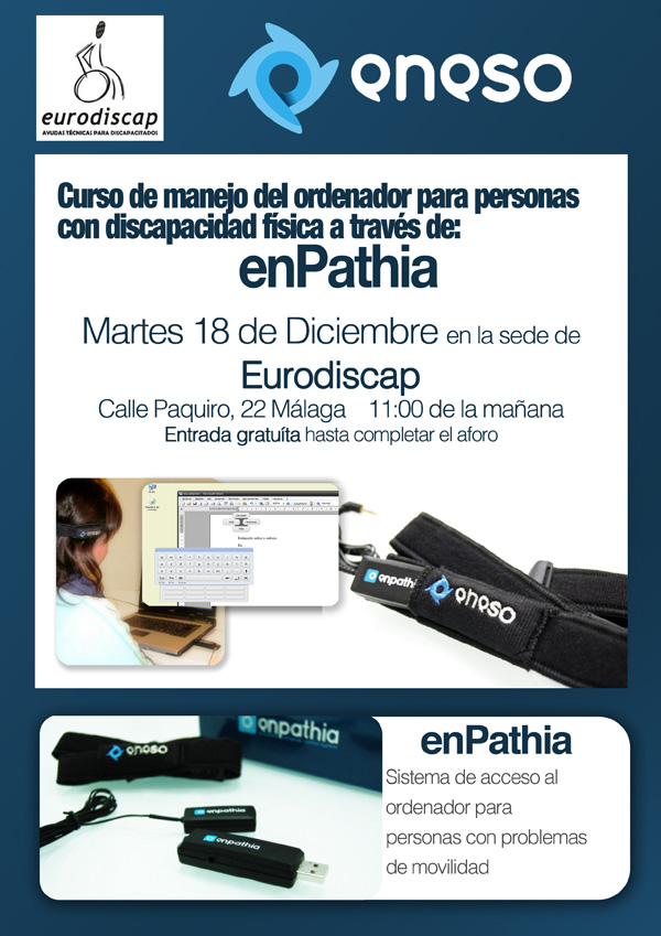Curso de manejo del ordenador para personas con discapacidad física a través de: enPathia