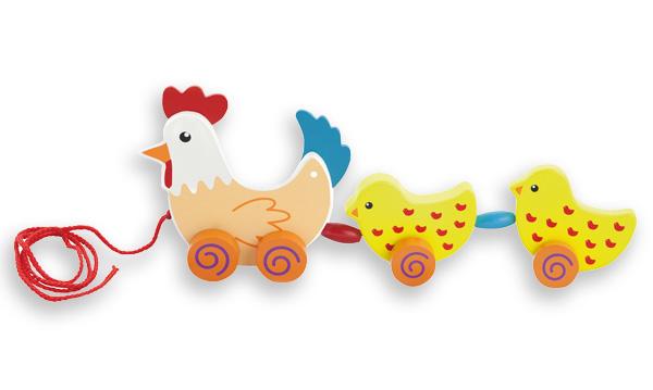 Arrastre Gallina y 2 pollitos - Juega llevando a mama gallina y sus dos polluelos