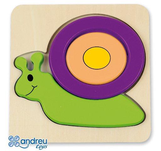 Baby puzzle caracol - Puzle-encaje de madera con forma de caracol