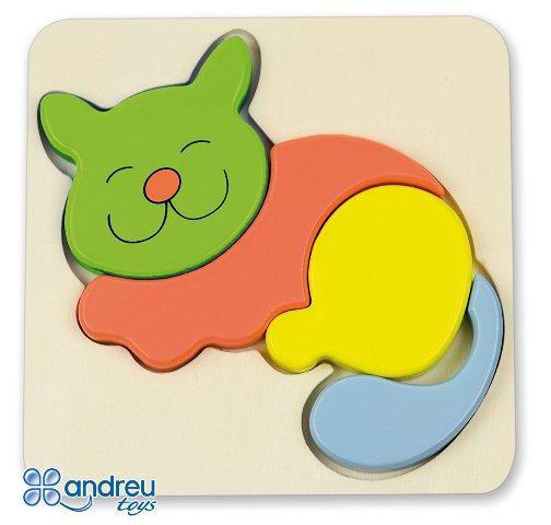 Baby puzzle gatito - Puzle-encaje de madera con forma de gatito