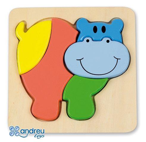 Baby puzzle hipo - Puzle-encaje de madera con forma de hipopótamo