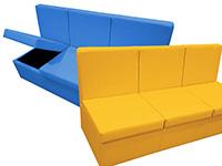 Bancada acolchada grande con sistema de almacén  - Aporta orden y confort a tu sala multisensorial