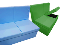Bancada acolchada mediana con sistema de almacenaje - Aporta orden y confort a tu sala multisensorial