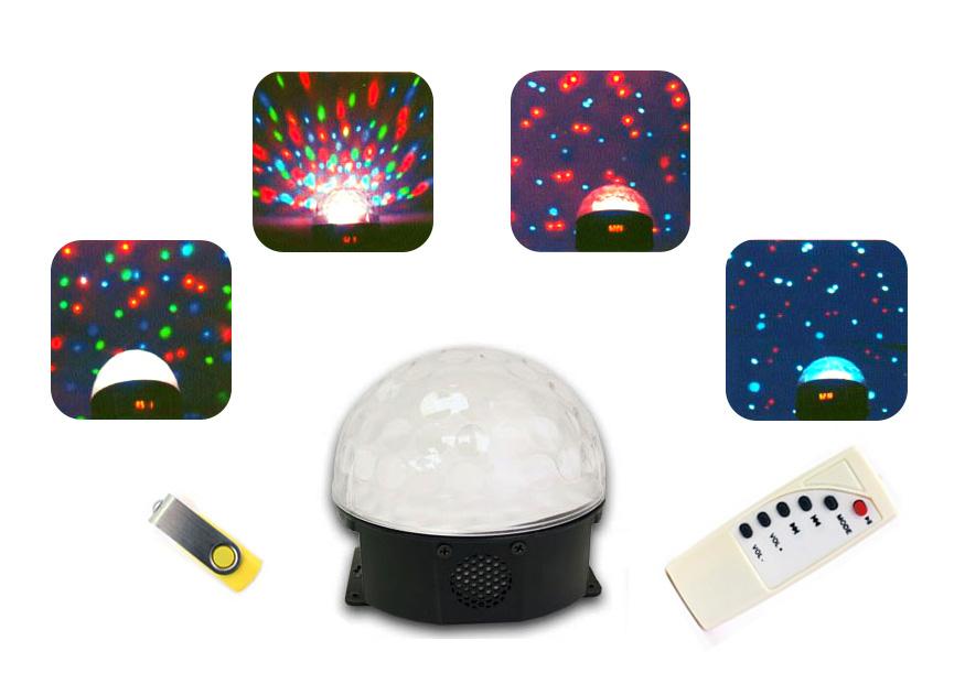 Bola de luz y música interactiva - Reproduce música MP3 a través del USB y la luces se adaptan a su ritmo