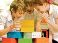 6 Cajas parlantes multicolor - Cajas con mensajes de voz