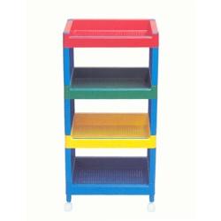 Carrito con bandejas - Colorida estructura de bandejas con ruedas