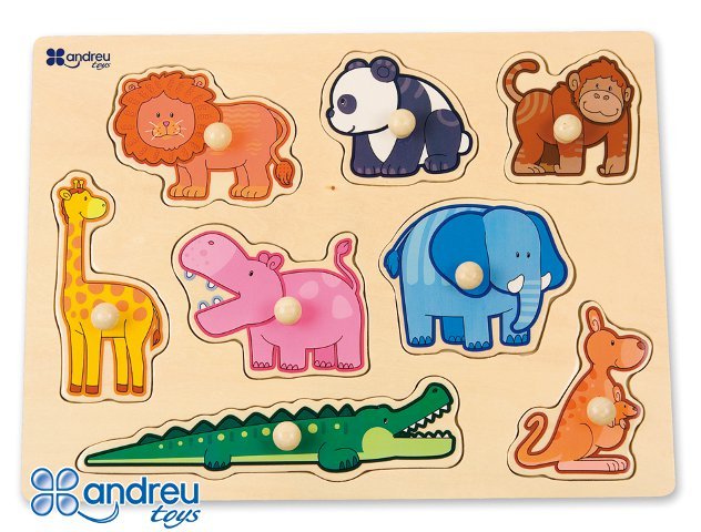 Jungle animal puzzle - Wooden farm puzzle with pegs