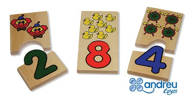 Encaje números - Fichas de 0 al 9 con dos mitades para encajar