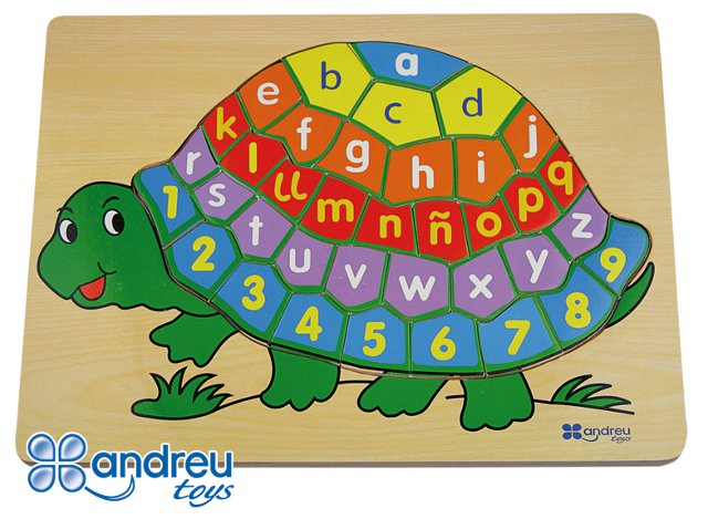 Tortoise puzzle - Alphabet and number wooden puzzle