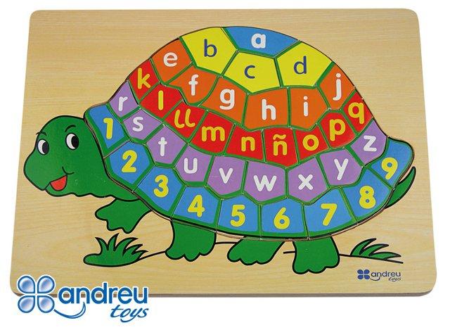 Encaje tortuga - Encaje de abecedario y números