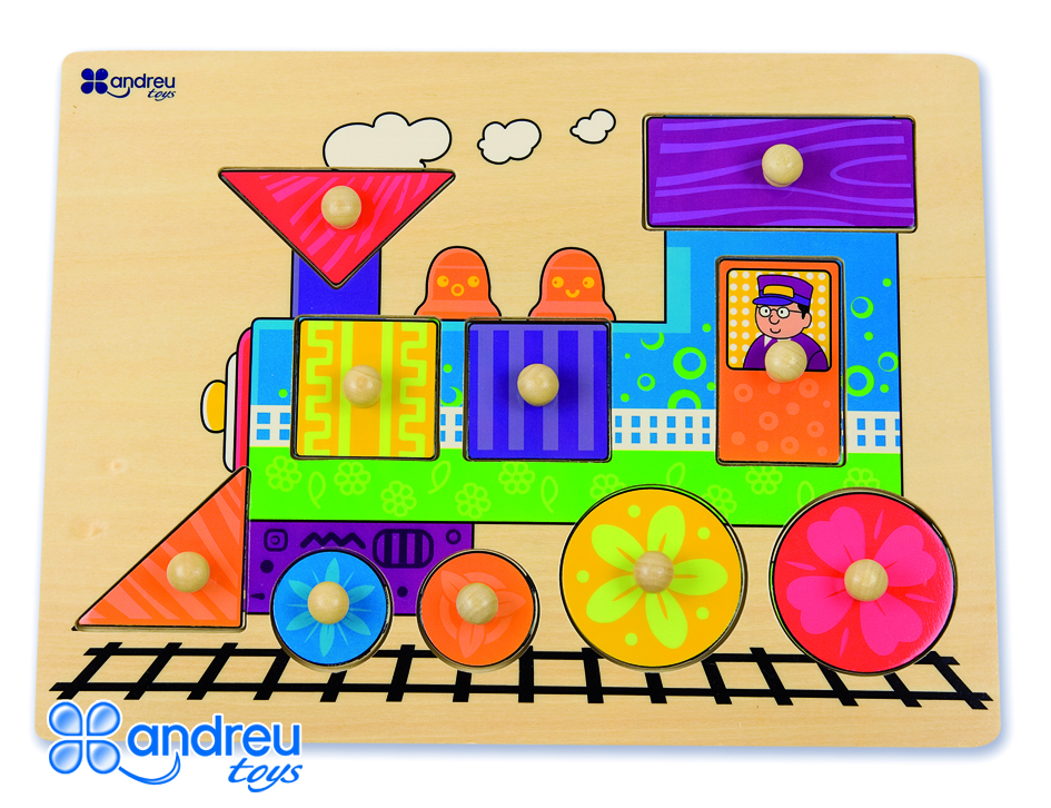 Train puzzle - Wooden train puzzle with pegs