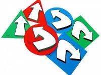 Flechas y formas - Seis señales con flechas en 3 colores