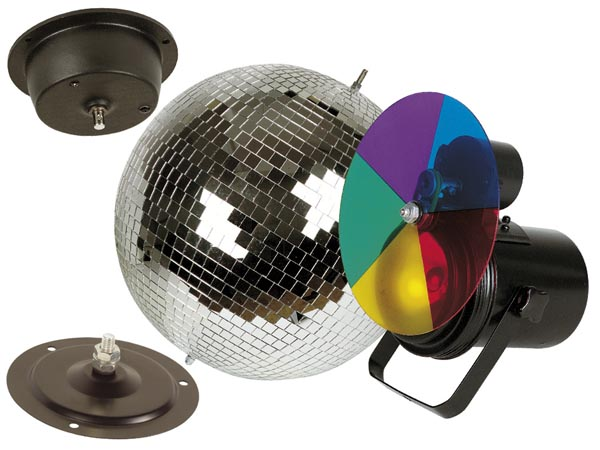 Mirror ball kit - Mirror ball with spotlight and colour filters