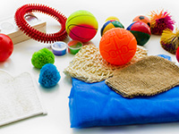 Touch and squeeze sensory kit - Set of pieces of touch and squeeze in a exploration bag