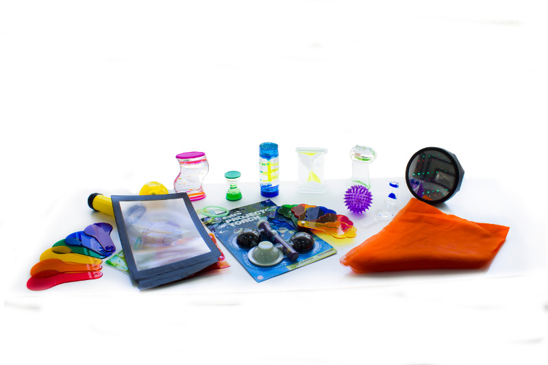 Visual effects sensory kit - Set of pieces of visual effects in a exploration bag