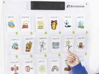 Interactive wall - Place cards, objects or drawings inside the pockets, then record a 10 second message