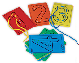 Sewing numbers - 10 cards of numbers and 10 cords