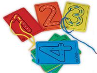 Números para hilar - 10 tarjetas con números y 10 cordones