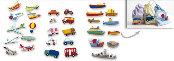 Pack figuras para tapiz Transportes - 30 divertidas figuras con velcro