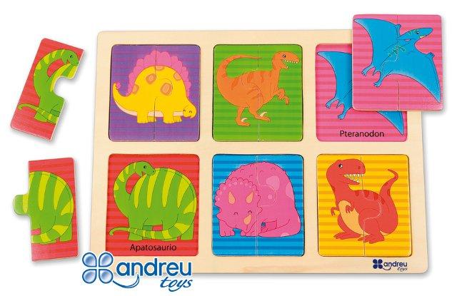 Puzzle - Dinos - 12 piezas en madera
