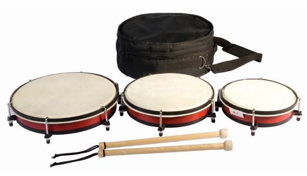 Set de 3 tambores - Set de 3 tambores de 20, 25 y 30 cm.