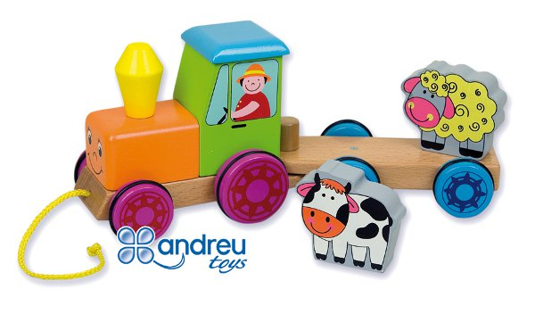 Tractor with animals - Wooden pull toy