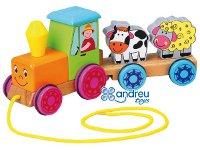 Tractor animales - Juguete de arrastre fabricado en madera