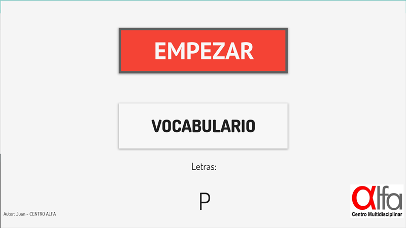 Letter P vocabulary
